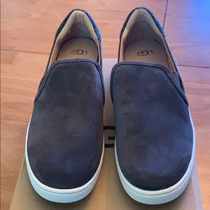 Ugg gray suede slip ons, size 10.